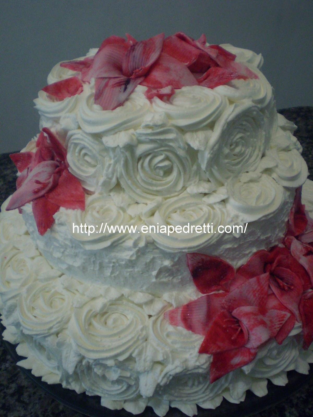 Top Enia Pedretti Bolos & Cia: Bolo de Casamento 3 Andares de Chantilly WW62