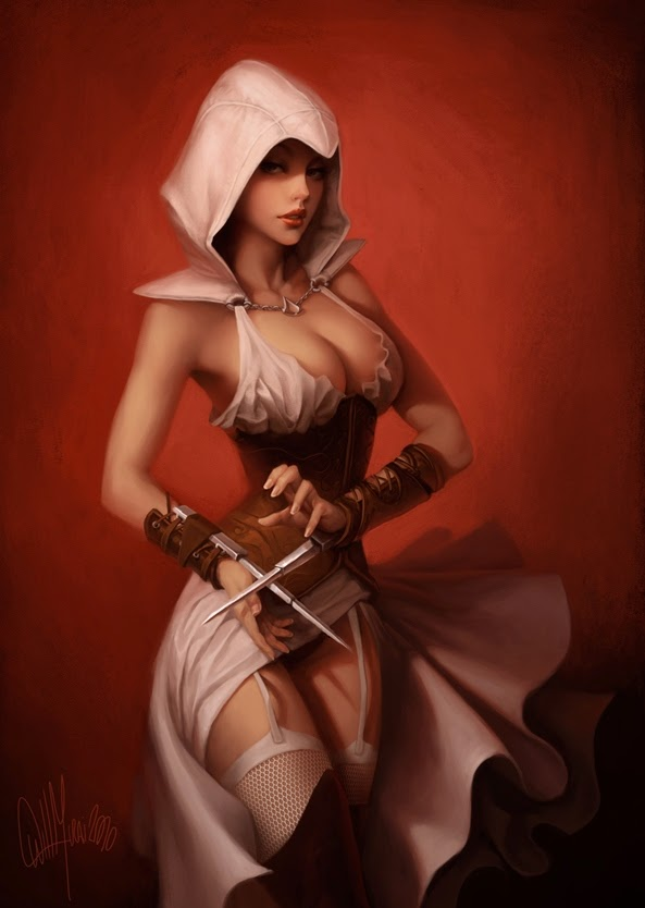 illustration de Will Murai représentant un assassin sexy du jeu assassin's creed