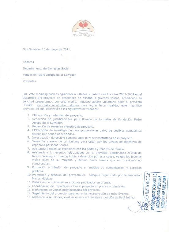 PROYECTO DE ENSEÑANZA DE ESPAÑOL EN ALIANZA CON FUNDACION PADRE ARRUPE DE EL SALVADOR