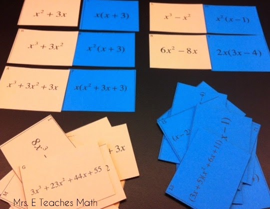Mrs. E Teaches Math:  Ideas for practicing factoring and a link to a free matching card activity