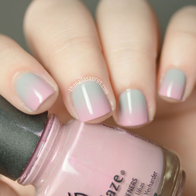 Pink and Grey Gradient Nail Art