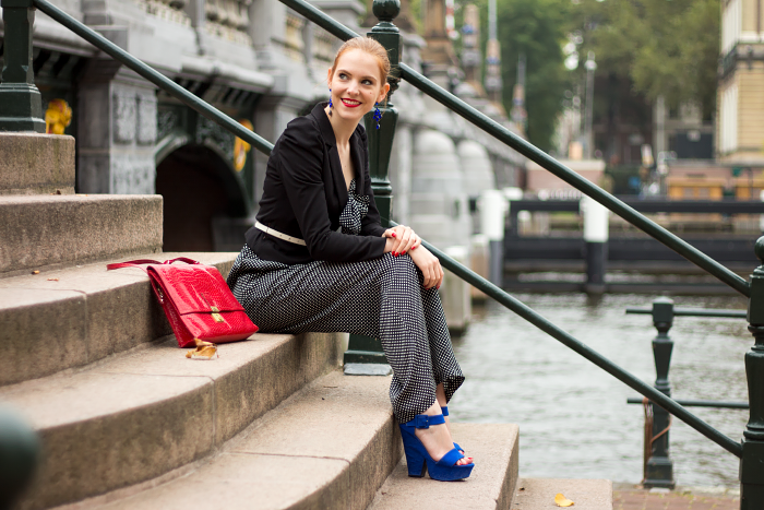 Fashion blogger outfit in Amsterdam with a polka dot jumpsuit
