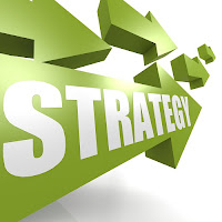 image of arrows pointing in one direction with text that reads: strategy