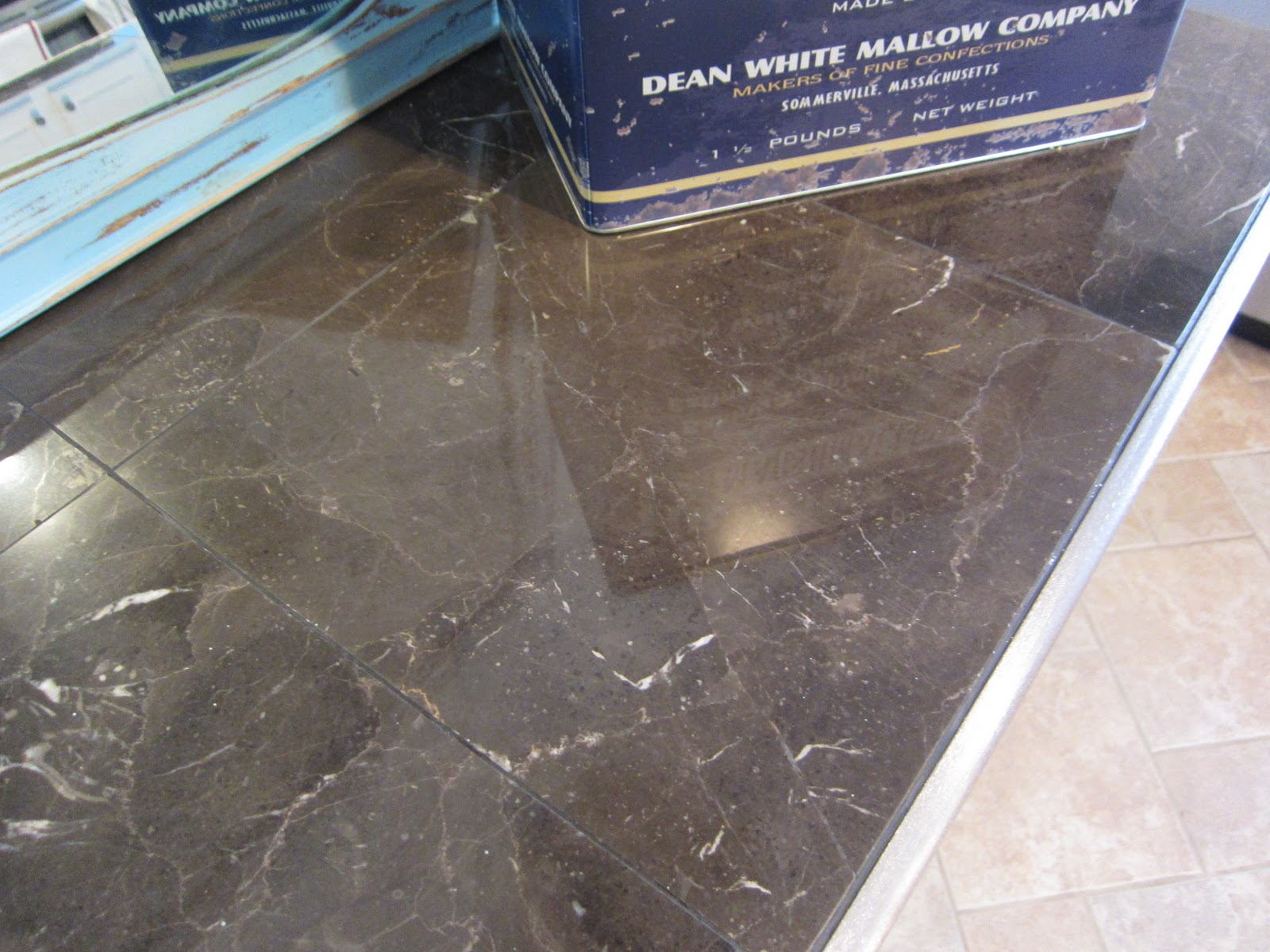 Marble Tile Countertop : such a light blue, and the cabinets were white, I knew the countertop ...