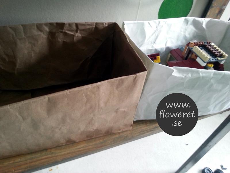 papperspåse som låda