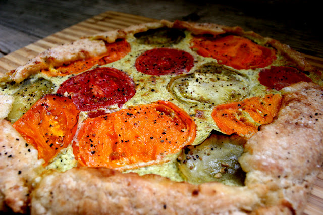 Savory Heirloom Tomato-Ricotta Galette Close-Up