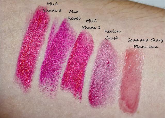 Autumn Lip Colours MUA, MAC, MUA, REVLON, SOAP AND GLORY