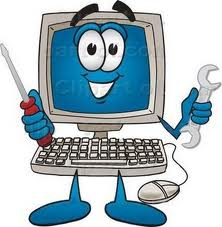 cartoon of computer holding tools