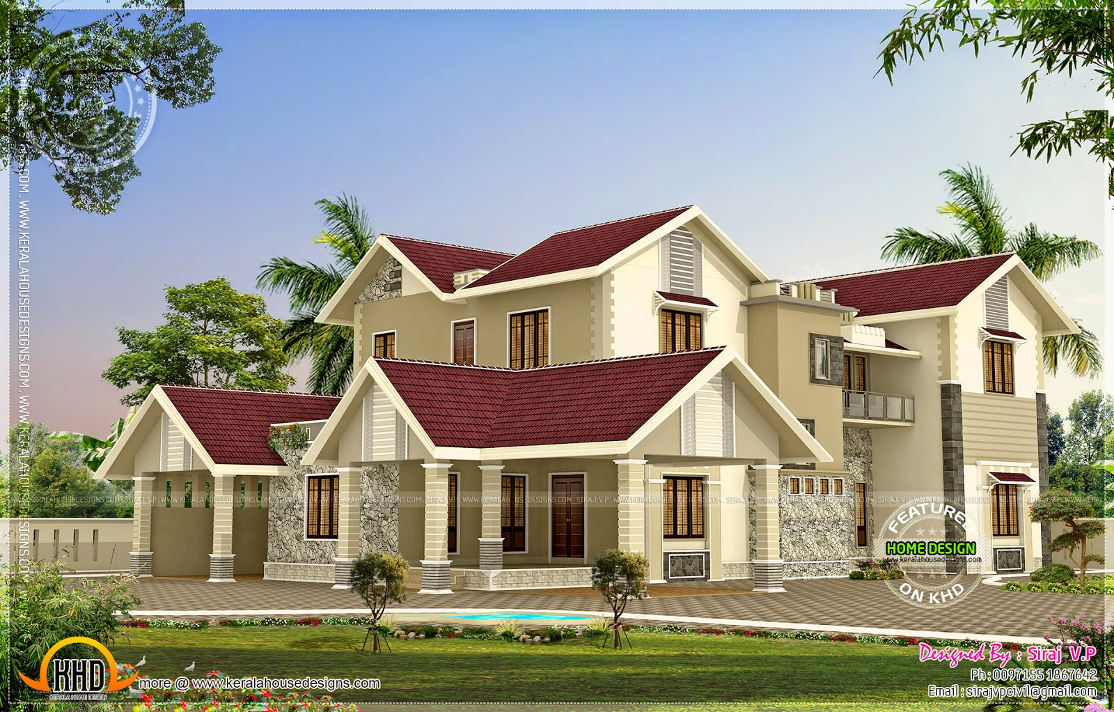 Modern mix kerala house elevation in different colors for Elevation of kerala homes