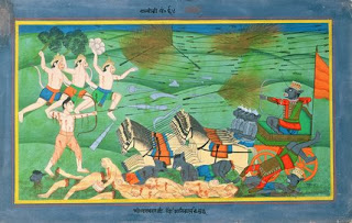 Atikaya, son of Ravana, follows his dead brothers onto the bloody battlefield, bat is soon slain by Lakshmana's  arrows.