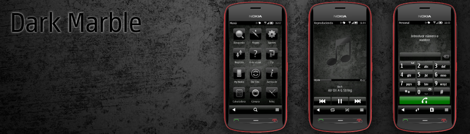 Ovi Promo Theme For Nokia Belle Dark Marble by Flotron