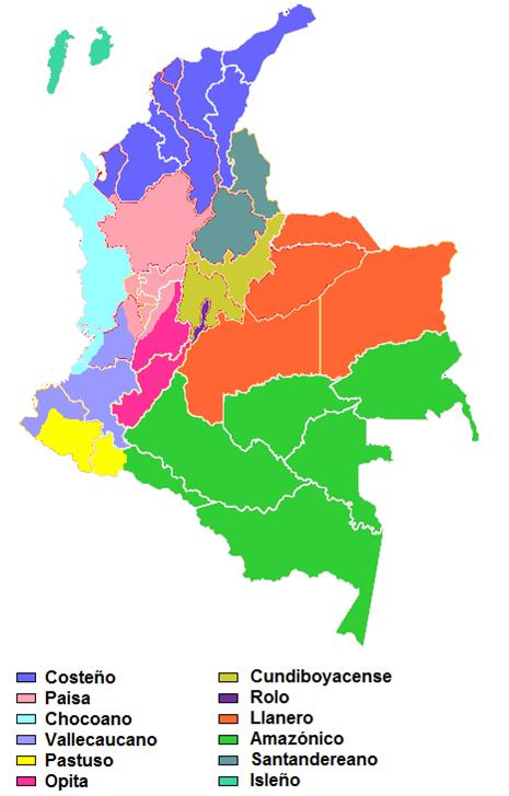 zona dialectales en colombia: