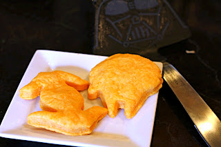 Homemade Goldfish Crackers in the shape of star wars ships