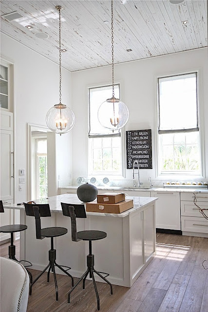 White rustic kitchen with painted wood ceiling