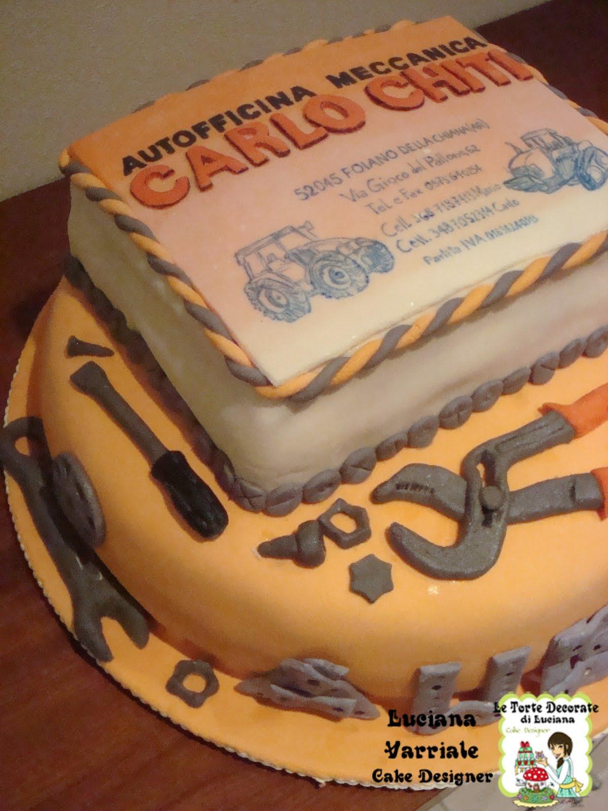Le torte decorate torta biglietto da visita officina