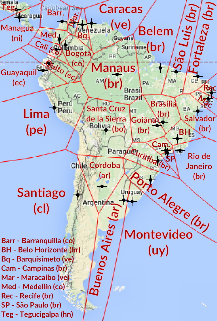 Nearest city with over 1 million inhabitants in South America