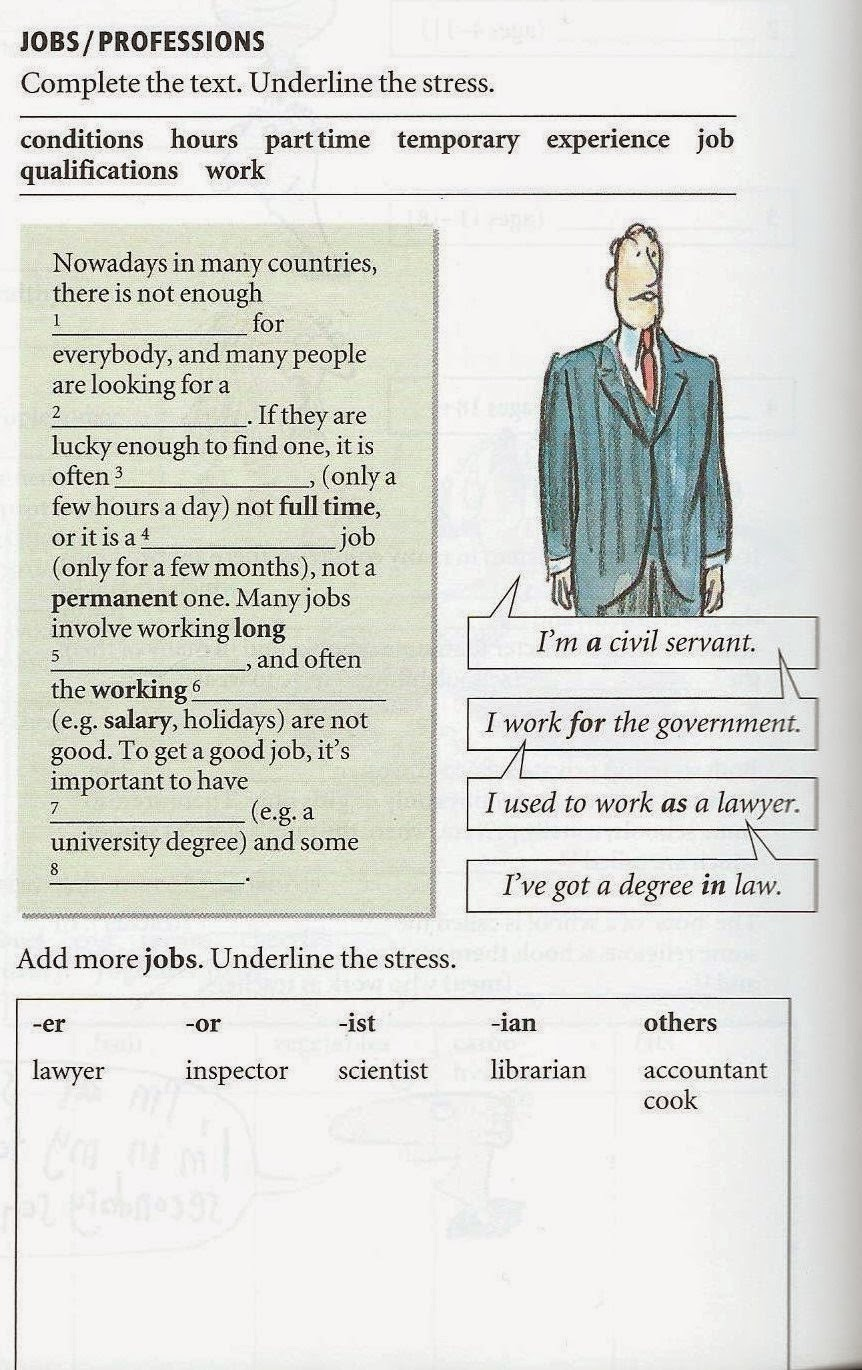 jobs work employment vocabulary pdf