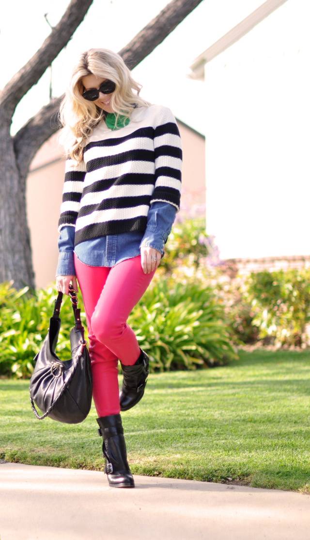 pink jeans, striped sweater, denim shirt