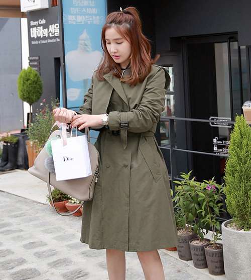 Zip Front Khaki Trench Coat