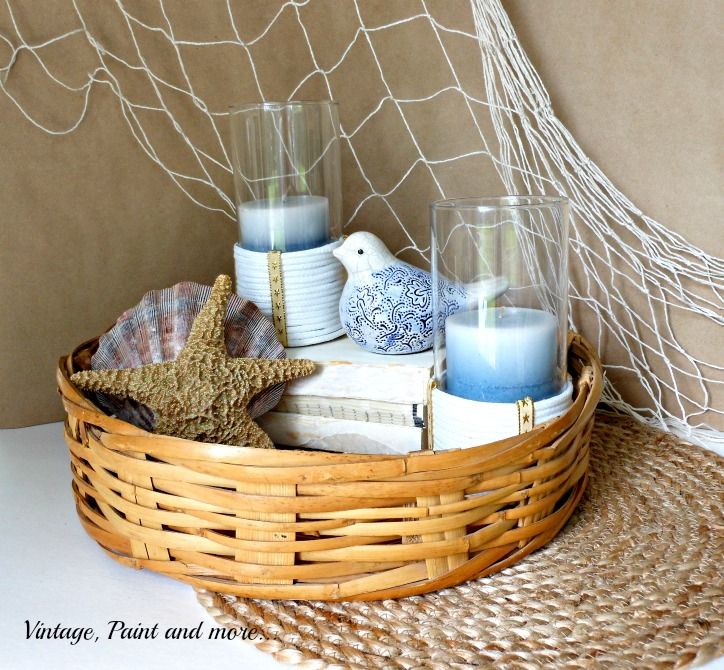 Vintage, Paint and more... beach decor with rope wrapped candle