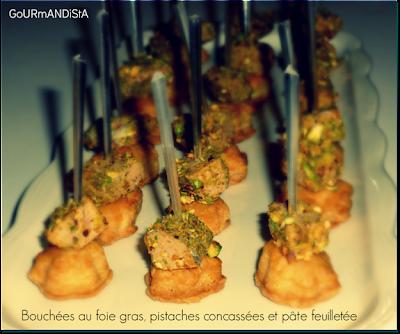 image Bouchées de foie gras, pistaches concassées et pâte feuilletée