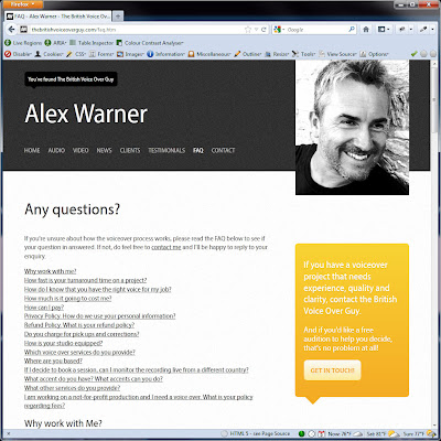 Screen shot of http://thebritishvoiceoverguy.com/faq.htm.