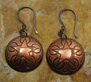 Western Star Etched Copper Earrings