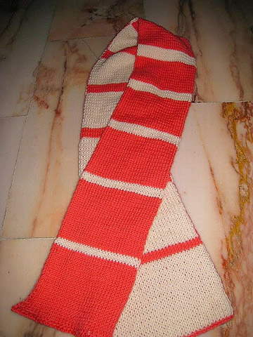 double knitted striped scarf