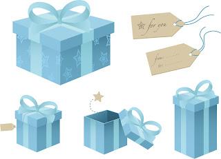 プレゼント箱とタグ snowflake gift box & tags イラスト素材2