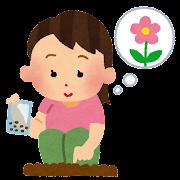 花の種を植えている女の子のイラスト