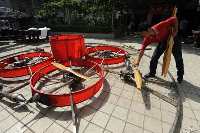 Former Chinese Farmer Builds Homemade Flying Saucer