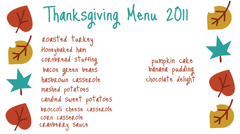 Ten june our thanksgiving menu for Traditional southern thanksgiving dinner menu