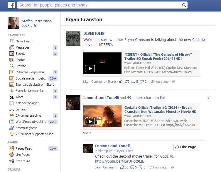 Ett ämne trendar på Facebook. Skärmbild av resultatlistningen.
