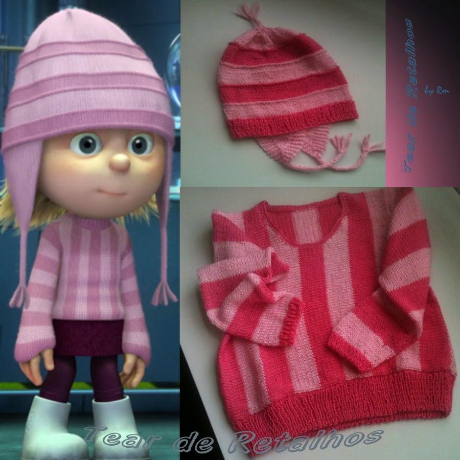 Casaco e gorro em tricô. listrado de 2 tons de rosa. Roupa infantil parecida com a da Edith do filme Meu Malvado Favorito