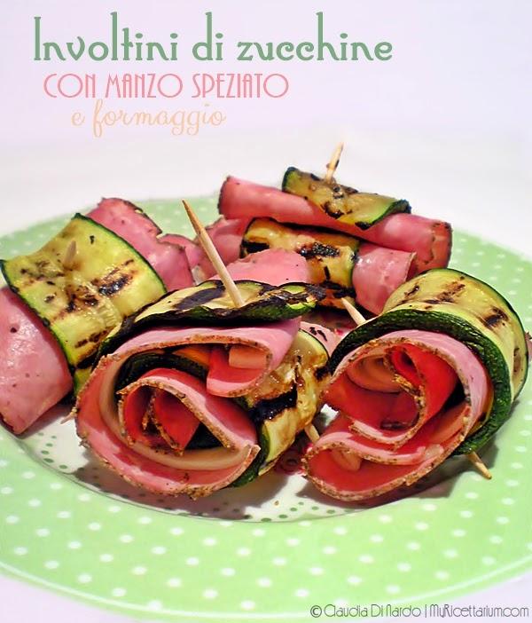Involtini di zucchine con fettine di manzo speziato e formaggio