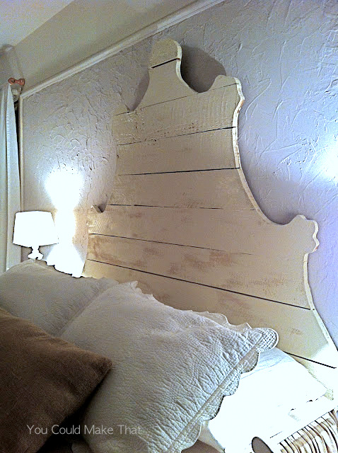 Reclaimed lumber headboard design, by You Could Make That, featured on I Love That Junk