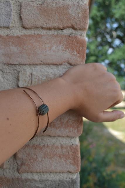 bracciale in rame e cartone ondulato 01 by La Civetta Chiacchierina