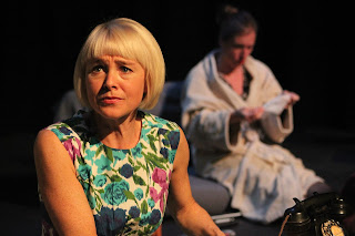 A Telephone Call by Tom Randle at Tête à Tête:The Opera Festival, photo Claire Shovelton, featuring Gillian Keith (soprano) and Beatrice Curnew (actress)
