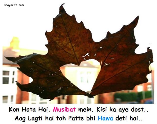 Kon Hota Hai, Musibat mein, Kisi ka aye dost.. Aag Lagti hai toh Patte bhi Hawa deti hai..