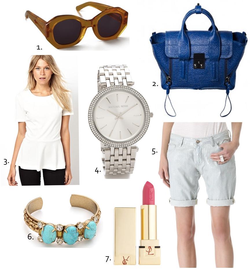 3.1 Phillip lim, asos, ootd, Michael kors silver watch, ysl lipstick, ysl pink lipstick, karen walker sunglasses, cobalt blue bag