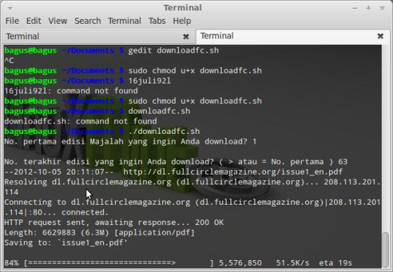 Downloader in action