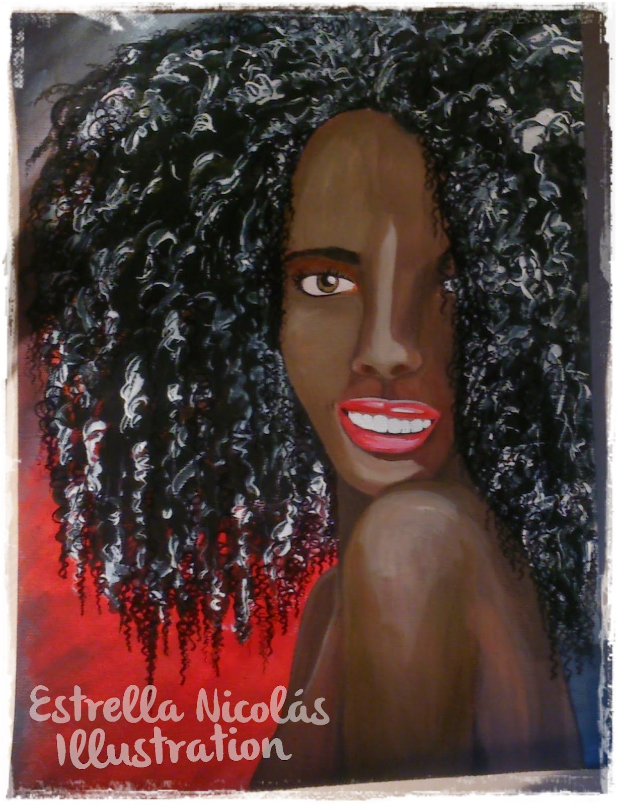 retrato mujer negra, acrilico, rojo, cara sonriendo