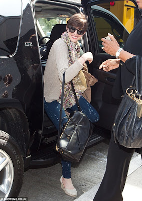 Anne Hathaway Getting Out of Car