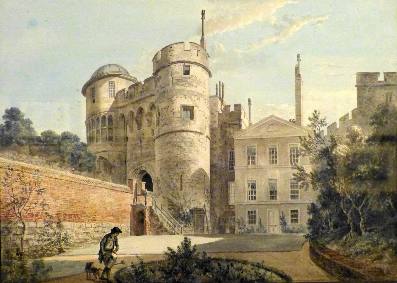 The Norman Gateway and Moat Garden, Windsor Castle  by Paul Sandby (c1770)