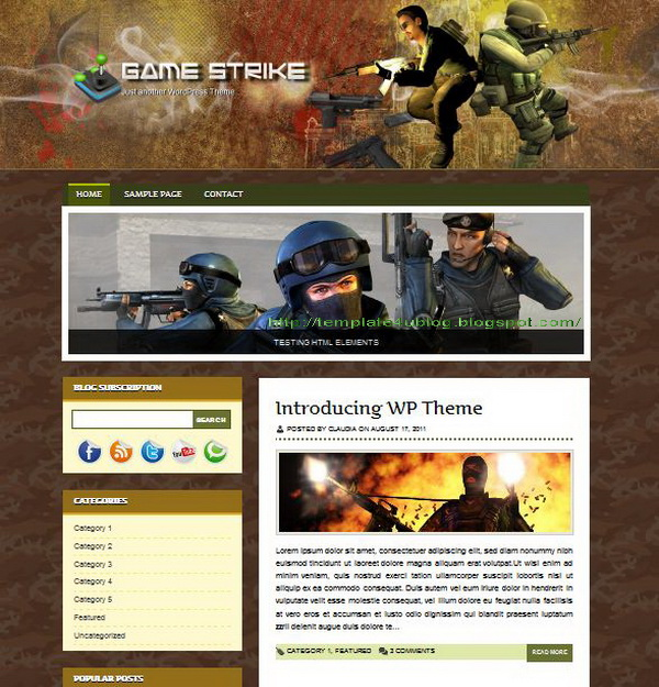 Game Strike WordPress Theme