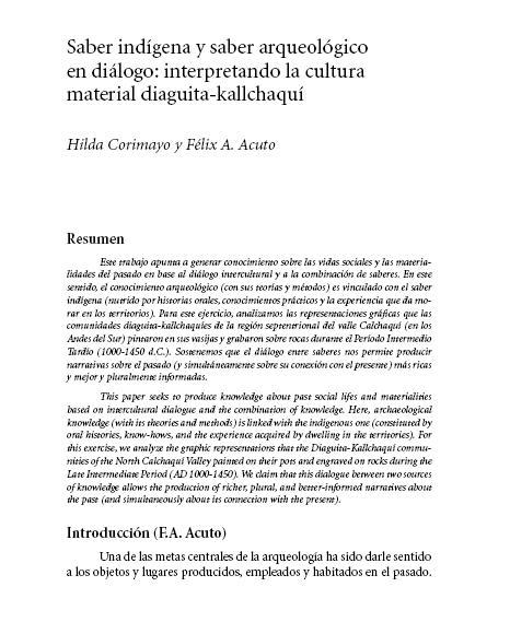 Saber indígena y saber arqueológico en diálogo. Acuto-Corimayo.