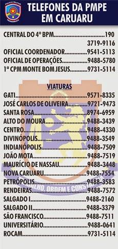 TELEFONES DA POLÍCIA MILITAR