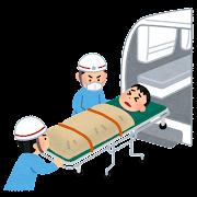 救急車で搬送される人のイラスト