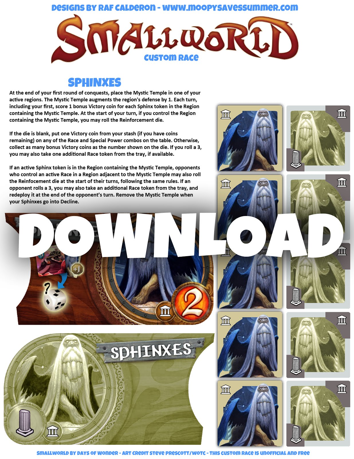 Sphinxes PDF NEW 2020  <br> Small World Custom Race