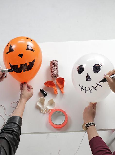 Esqueleto e fantasma - Decoração de Halloween com balões - PAP 03